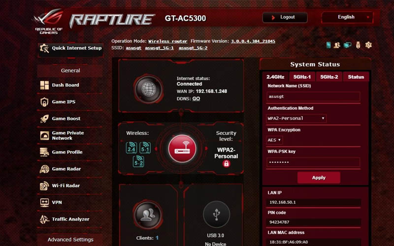 Asus Rog Rapture GT-AC5300 Router Interface