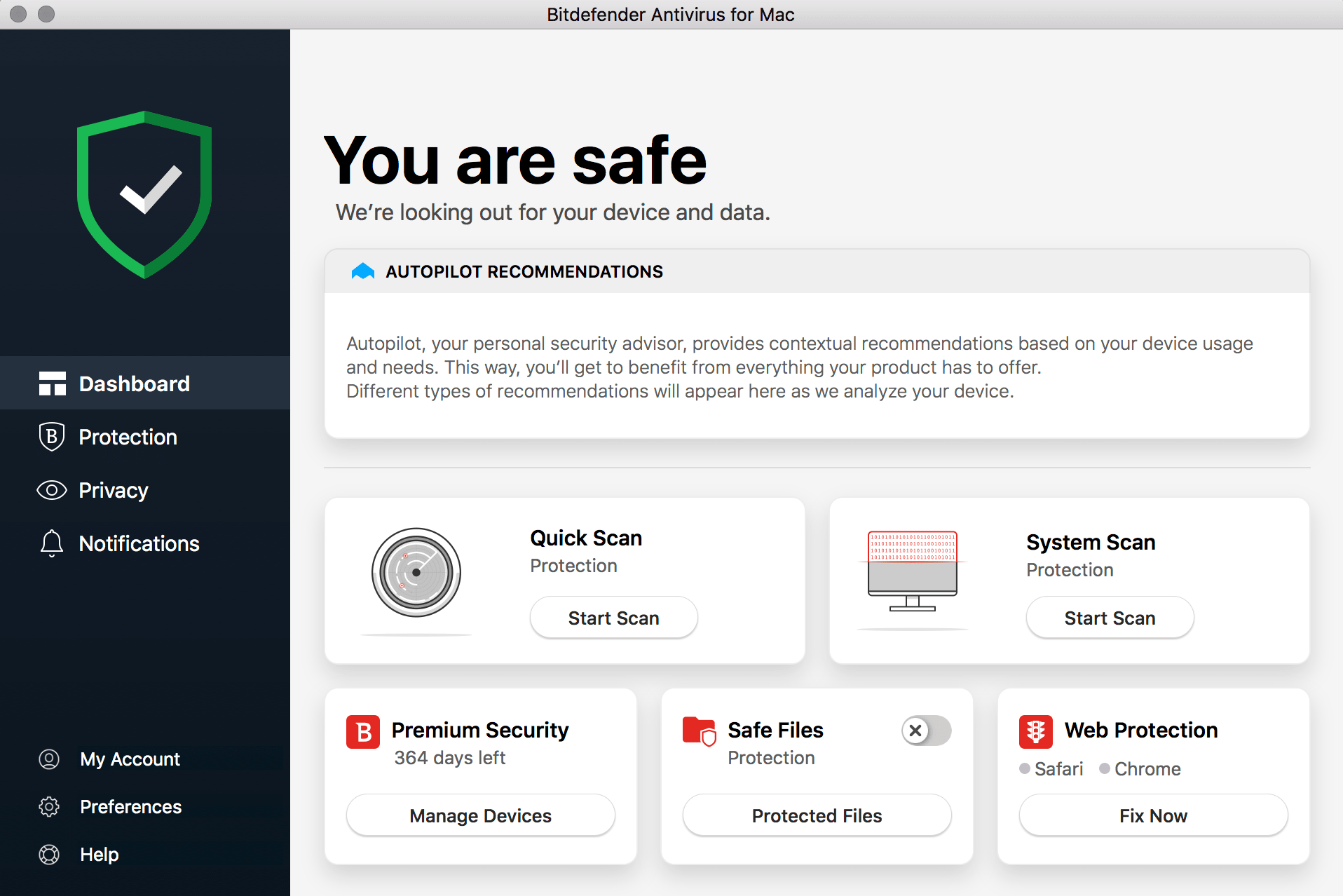 Bitdefender Premium 2020 Interface
