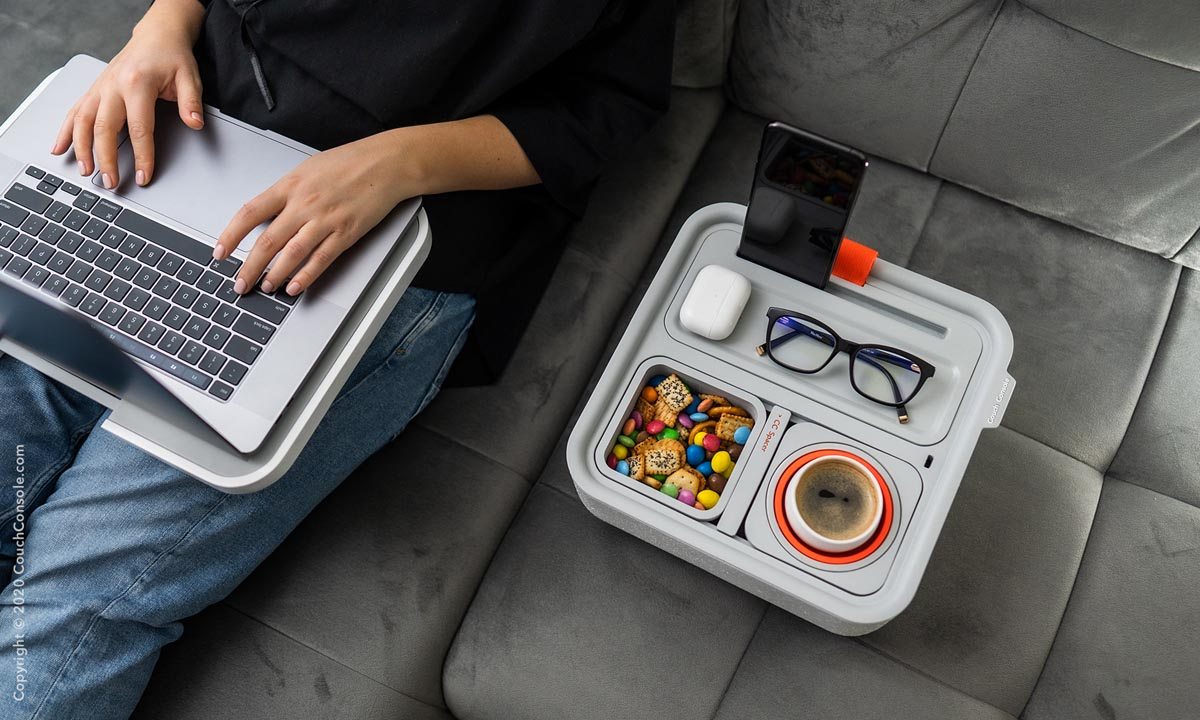 Couch Console with Phone Stand