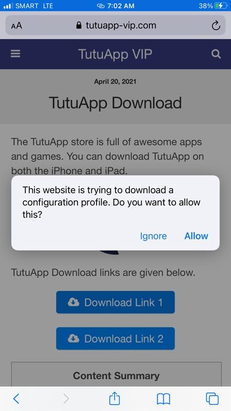 Tutu App Download Approval Screen