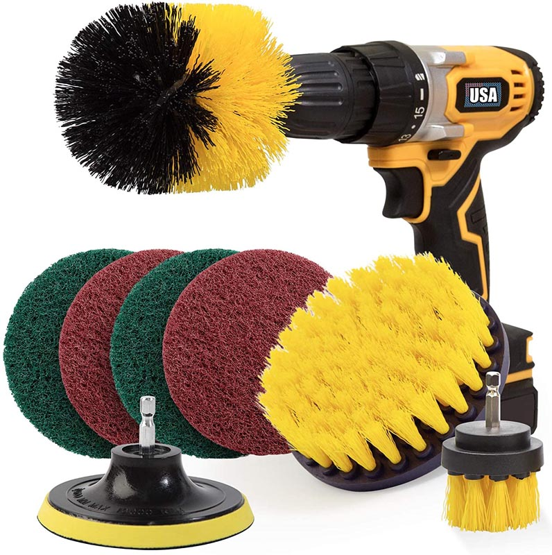 Holikme 8 Piece Drill Brush Attachment Set Scouring Pads