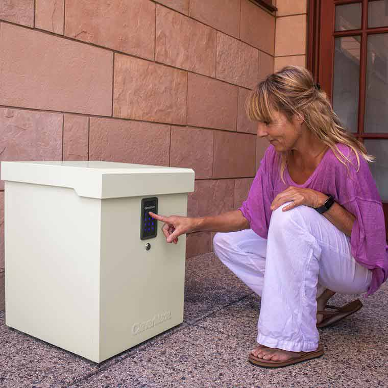 Woman using the lockbox