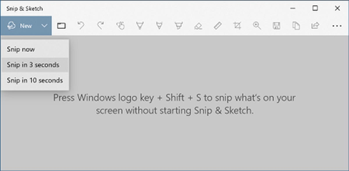 Snip & Sketch Tool different options
