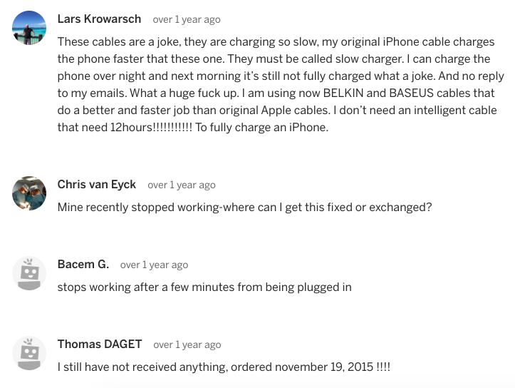 UsBidi Charger Complaint Indiegogo