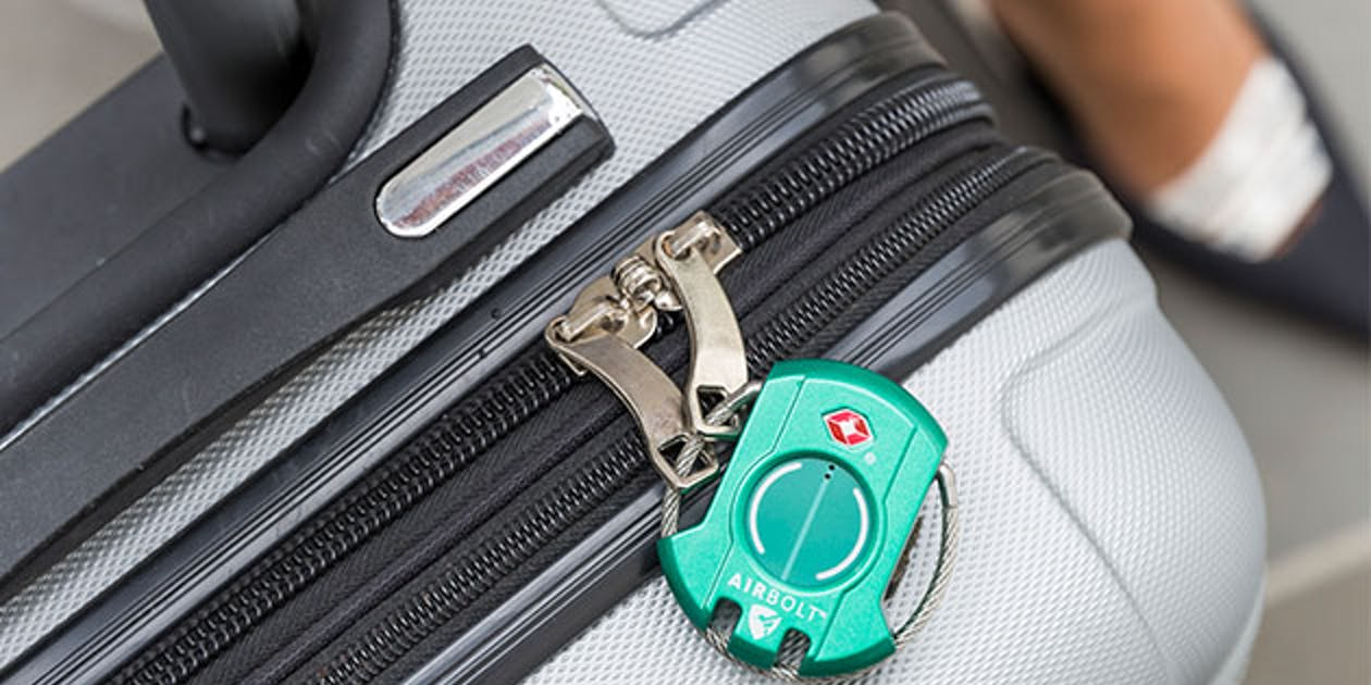 airbolt smart travel lock securing suitcase